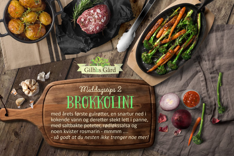 Brokkolini med årets første gulrøtter, et godt tilbehør til middagen